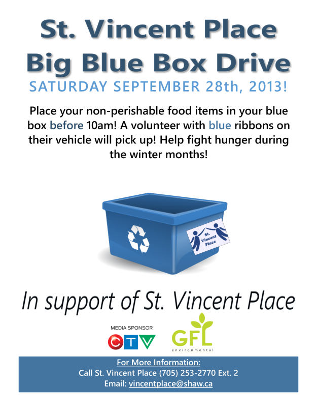 SEPT 28/2013: BIG BLUE BOX FOOD DRIVE